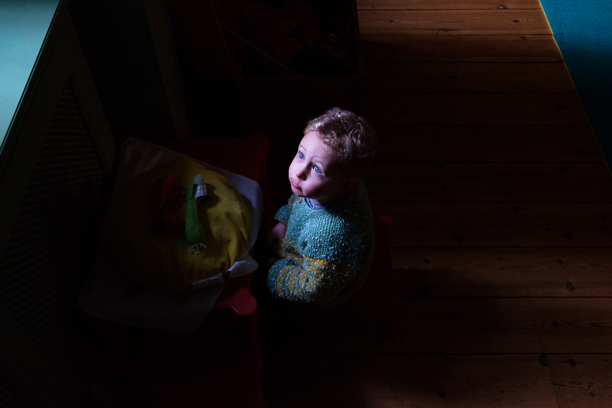 Portrait of London family photographer Ben Heasman's son Leo, in a rare moment of thoughtful inactivity.