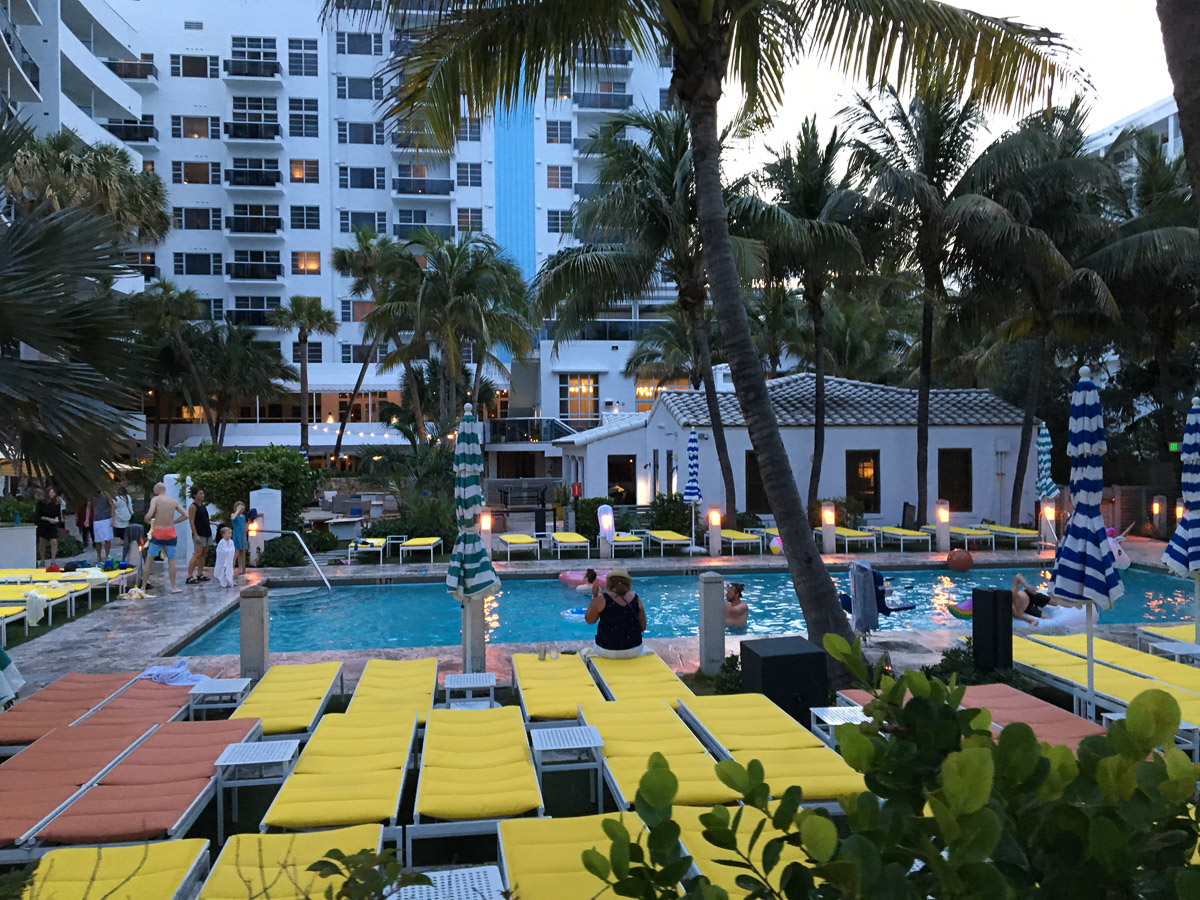 View of pool by a Miami hotel.