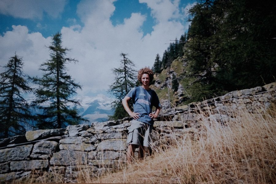 Photographer as a young man hiking through the Alps before his Masters degree in London.
